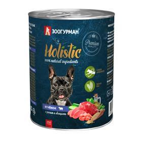 Влажный корм Holistic для собак, ягнёнок с рисом и овощами, ж/б, 350 г