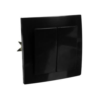 """Выключатель """"Элект"""" VS 56-232-Ч, 2 клавиши, скрытый, черный - Фото 1"""
