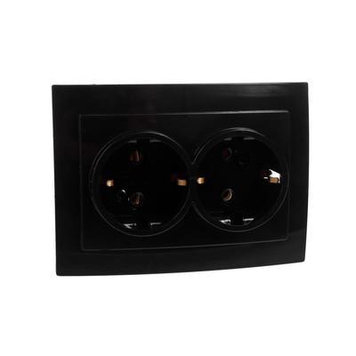 "Розетка ""Элект"" RS 16-238-Ч, двухместная, с з/к, скрытая, черная - Фото 1"