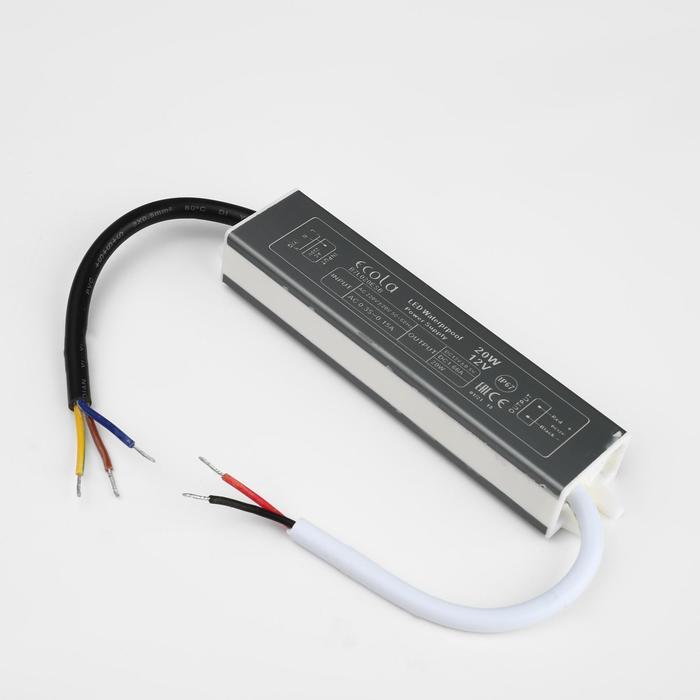 Блок питания для светодиодной ленты Ecola, 20 Вт, 220-12 В, IP67