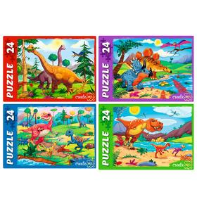 Пазлы 24 элемента «Динозавры», МИКС