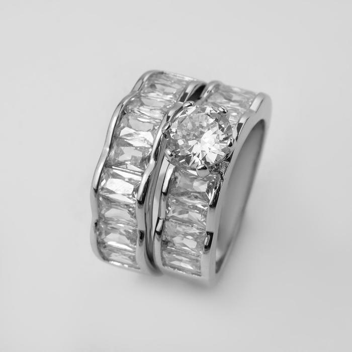 """Кольцо """"Богатство"""" два ряда, цвет белый в серебре, размер 18"""