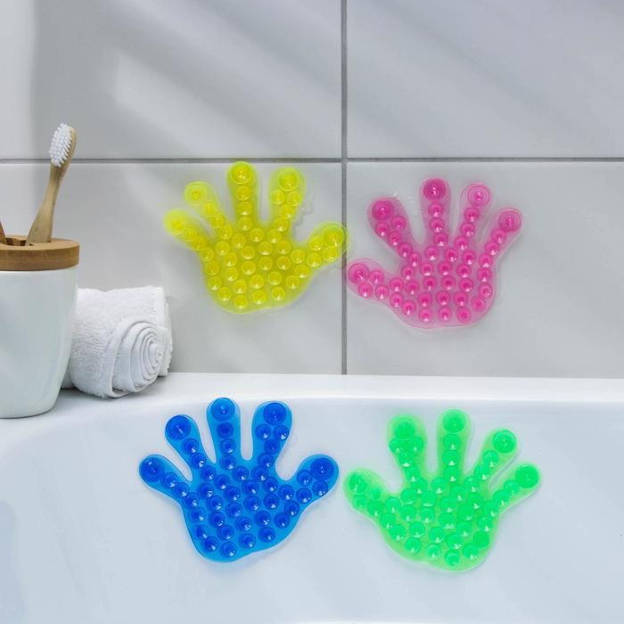 Мини-коврик для ванны «Рука», 13×13 см, цвет МИКС