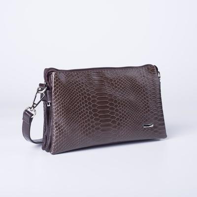 Сумка женская, отдел на молнии, наружный карман, регулируемый ремень, цвет коричневый - Фото 1