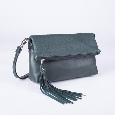 Сумка женская, отдел на молнии, наружный карман, регулируемый ремень, цвет зелёный - Фото 1