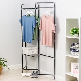 Стойка для вещей с креплением к стене Доляна, 117×32×172 см, цвет чёрный Ош