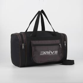 Сумка спортивная, отдел на молнии, 3 наружных кармана, длинный ремень, цвет чёрный/коричневый