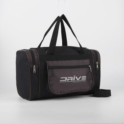Сумка спортивная, отдел на молнии, 3 наружных кармана, длинный ремень, цвет чёрный/коричневый - Фото 1