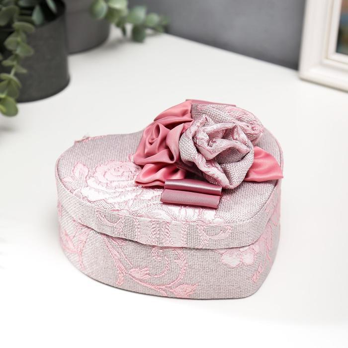 Шкатулка текстиль для украшений сердце Цветы с лентой 7х15,5х18 см