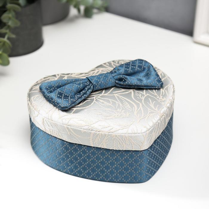Шкатулка текстиль для украшений сердце Бант 7х15,5х18 см