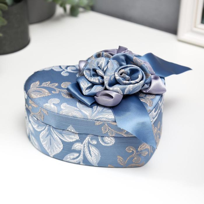 Шкатулка текстиль для украшений сердце Синий цветок 7х15,5х18 см