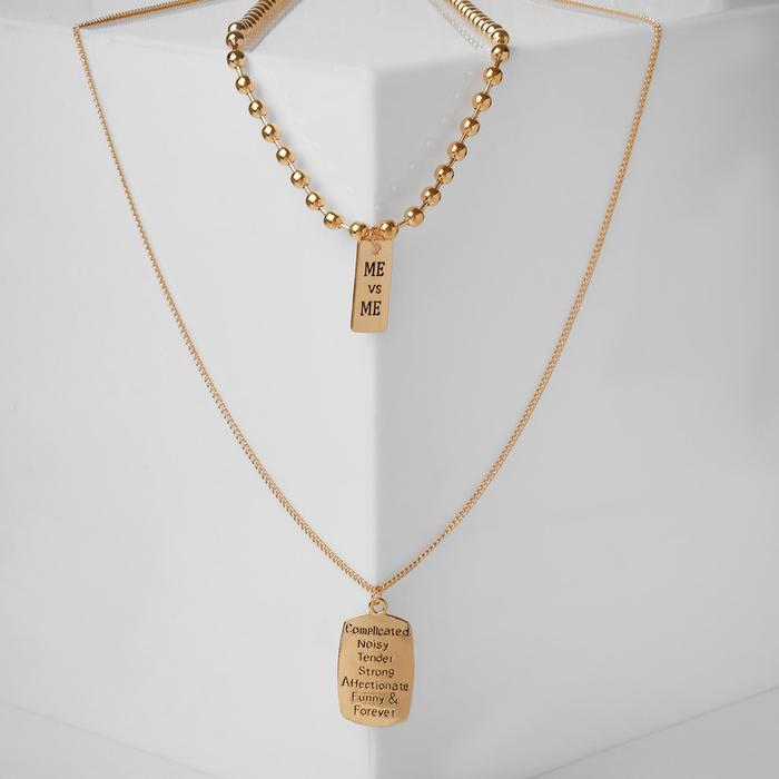 Кулон двойной Цепь сталь, прямоугольники, цвет золото, 70 см