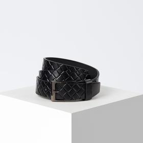 Ремень, ширина 3 см, винт, пряжка металл, цвет чёрный