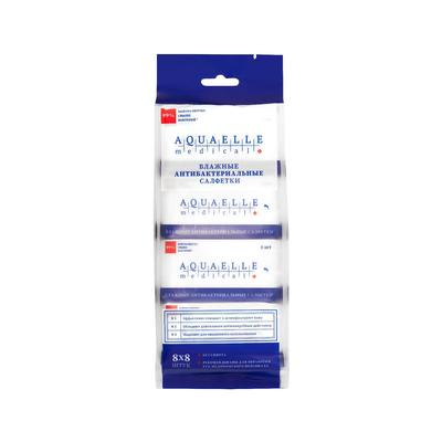 Влажные салфетки AQUAELLE MEDICAL, антибактериальные, 8 шт. * 8 уп. - Фото 1