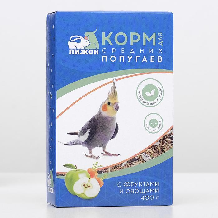 Корм Пижон для средних попугаев, с овощами и фрутами, 400 г