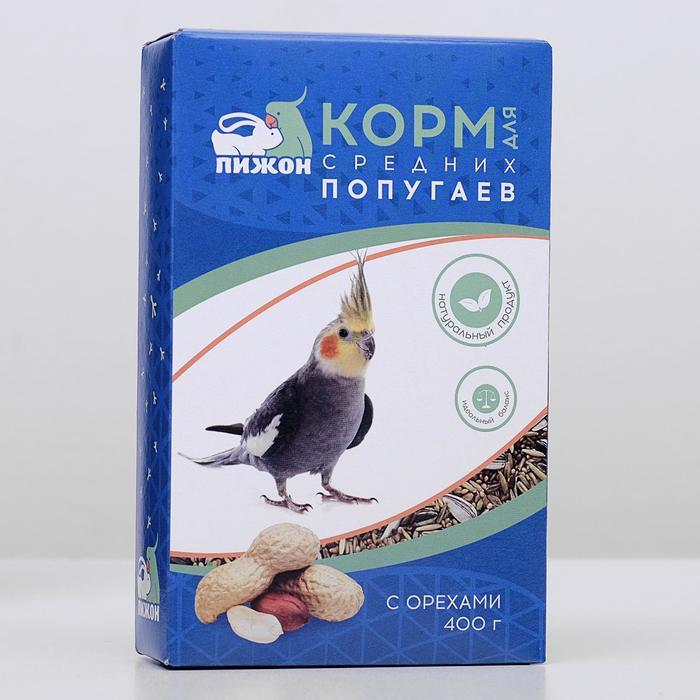 Корм Пижон для средних попугаев, с орехами, 400 г