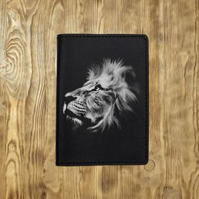 """Обложка на паспорт """"Мирный белый лев"""" черная"""