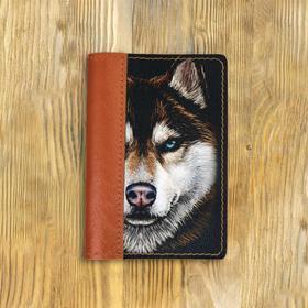 """Обложка на паспорт комбинированная """"Волк с голубыми глазами"""" рыжая, черная вставка"""
