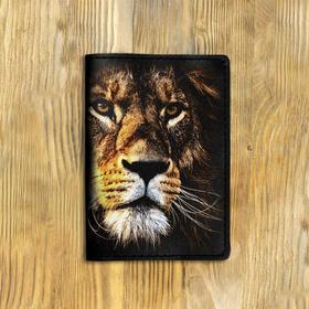 """Обложка на паспорт """"Крупный лев"""" черная"""