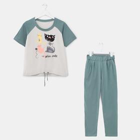 Комплект женский (футболка, брюки), цвет зелёный, размер 46