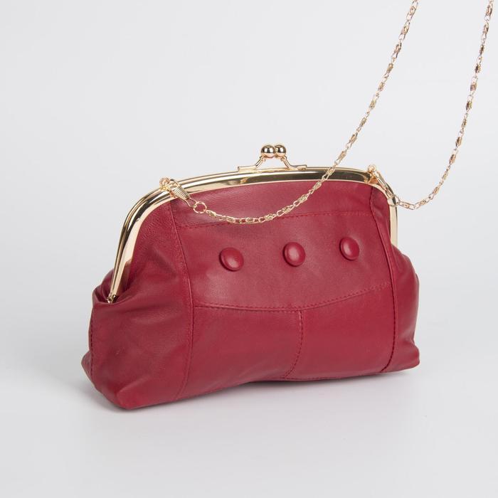 Клатч-косметичка, отдел на фермуаре, наружный карман, цвет красный