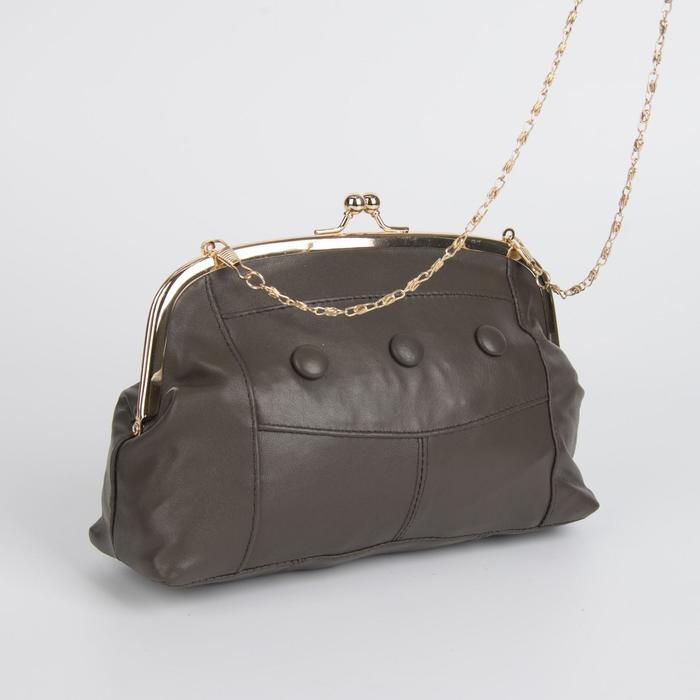 Клатч-косметичка, отдел на фермуаре, наружный карман, цвет тёмно-коричневый