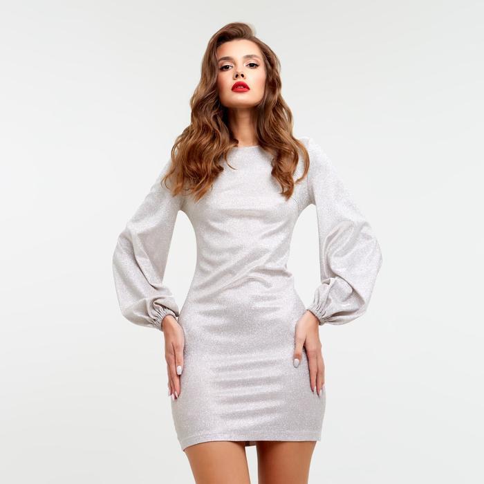 Платье с объемным рукавом MIST, бежевый, 48