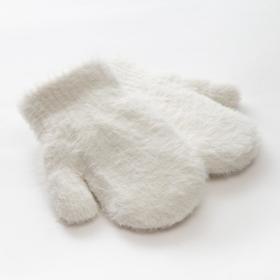 """Варежки детские MINAKU """"Пушистые"""", 14 р-р (14 см), цв.белый"""