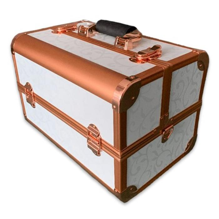 Бьюти кейс для косметики золотой CWB7350, цвет бело-золотой