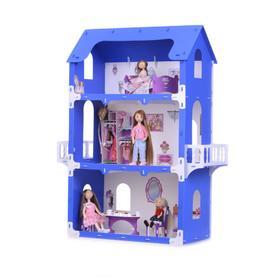 Домик для кукол «Коттедж Екатерина» с мебелью, цвет бело-синий