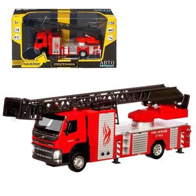 Машина металлическая «Volvo Пожарная», 1:50, откидная кабина, выдвижная лестница, световые и звуковые эффекты, цвет красный - Фото 1
