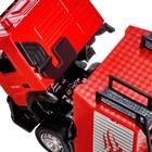 Машина металлическая «Volvo Пожарная», 1:50, откидная кабина, выдвижная лестница, световые и звуковые эффекты, цвет красный - Фото 3