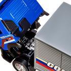Машина металлическая Volvo 1:50, откидывается кабина, световые и звуковые эффекты, свободный ход колёс, цвет синий - Фото 3