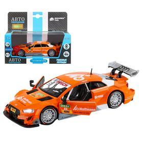 Машина металлическая Audi RS 5 DTM 1:32, инерция, световые и звуковые эффекты, открываются двери, цвет оранжевый