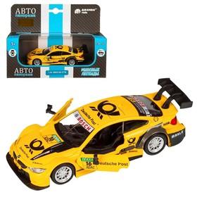 Машина металлическая BMW M4 1:44, инерция, открываются двери, цвет жёлтый