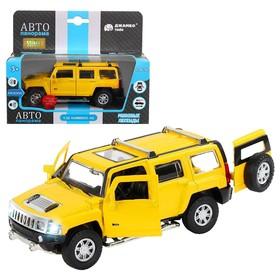 Машина металлическая Hummer H3 1:32 цвет жёлтый инерция, световые и звуковые эффекты, открываются двери