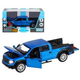 Машина металлическая Ford F-150 SVT Raptor 1:34, инерция, световые и звуковые эффекты, открываются двери, капот, цвет синий