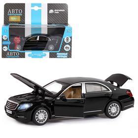 Машина металлическая Mercedes-Benz S600, 1:32, инерция, световые и звуковые эффекты, открываются двери, капот, багажник, цвет чёрный