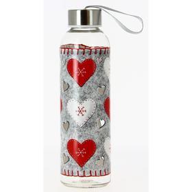 Бутылка переносная «Войлочные сердечки», 500 мл, с крышкой