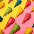 Вафельные рожки с ровным краем цветное ассорти  (Н-110, Д-48), 225 шт
