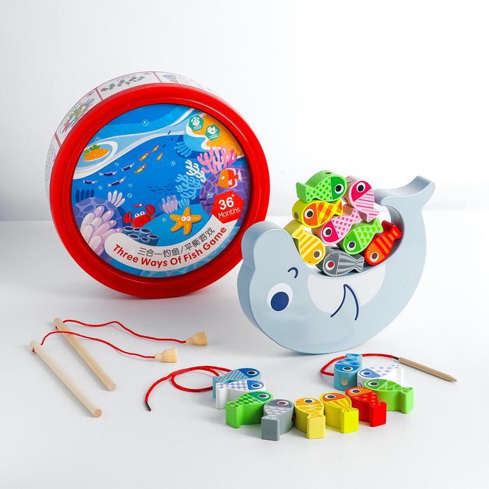 Детский развивающий набор 3 в1 «Рыбалка+балансир+шнуровка» 22,4х22,4х8,1 см