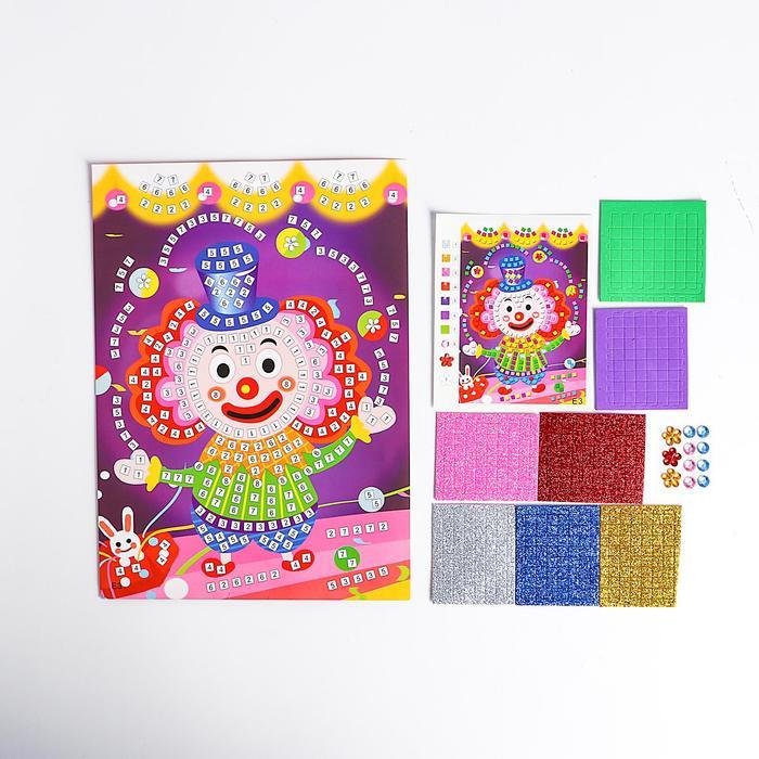 Мозаика стикерная Клоун блестки, стразы
