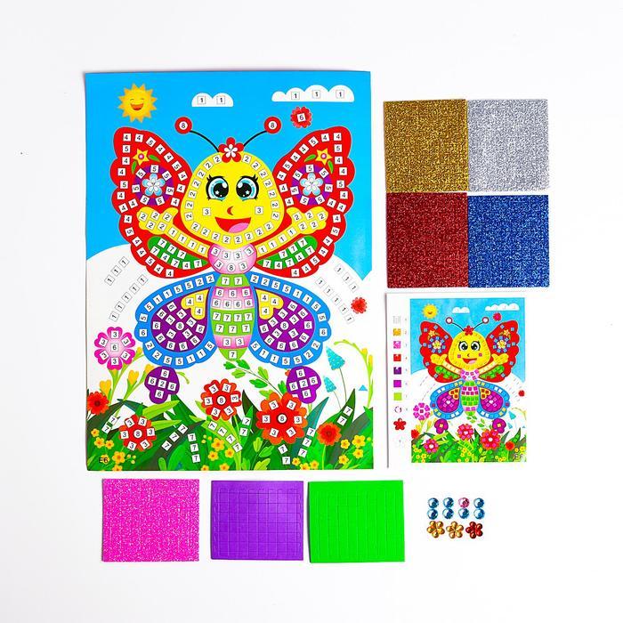 Мозаика стикерная Веселая бабочка блестки, стразы