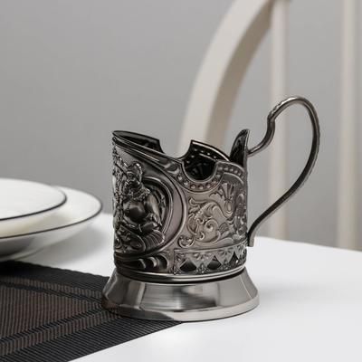 Подстаканник «Русское чаепитие», никелированный, с чернением - Фото 1