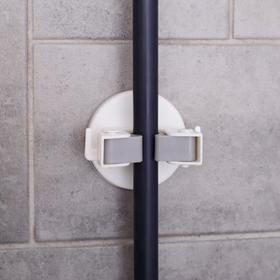 Держатель для уборочного инвентаря, силиконовый захват, 7,5×7,5×6 см, цвет МИКС Ош