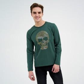 Лонгслив мужской, цвет тёмно-зелёный, размер 48 Ош