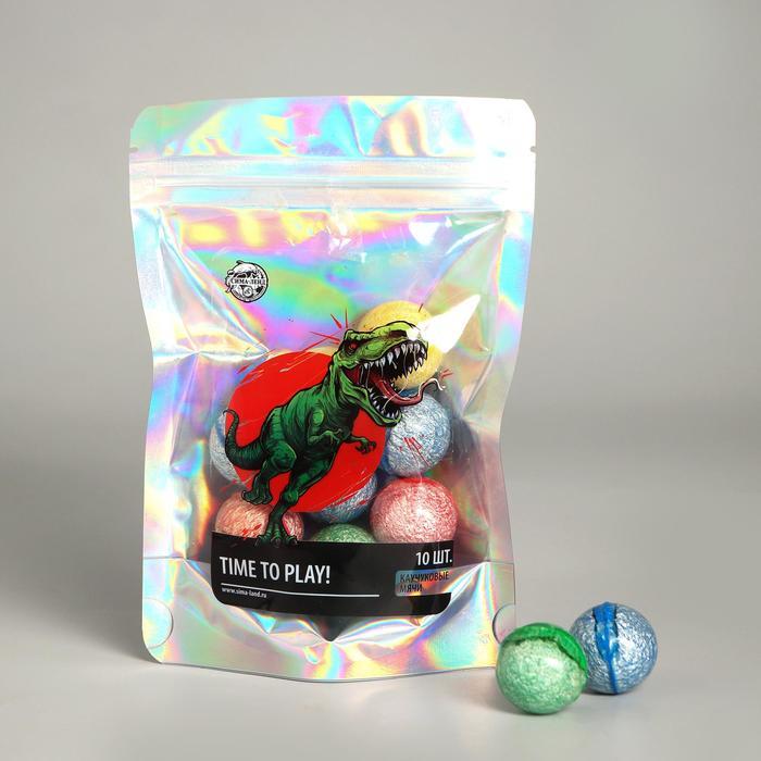 Мячи каучуковые Динозавр, 10 шт., d2,5 см