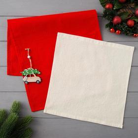 """Набор полотенец LoveLife """"Новогоднее чудо"""" (вид 3) : вафля 35*60 см, махра 30*30 см + игрушка 516310"""