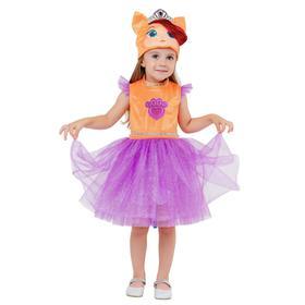 Карнавальный костюм «Котенок Жемчужинка», платье, шапка, р.26, рост 104 см
