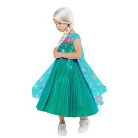 Карнавальный костюм «Эльза зеленое платье», платье с накидкой, парик, р.26, рост 104 см